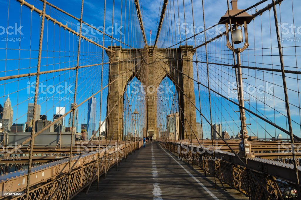 The joists of the Brooklyn Bridge stock photo