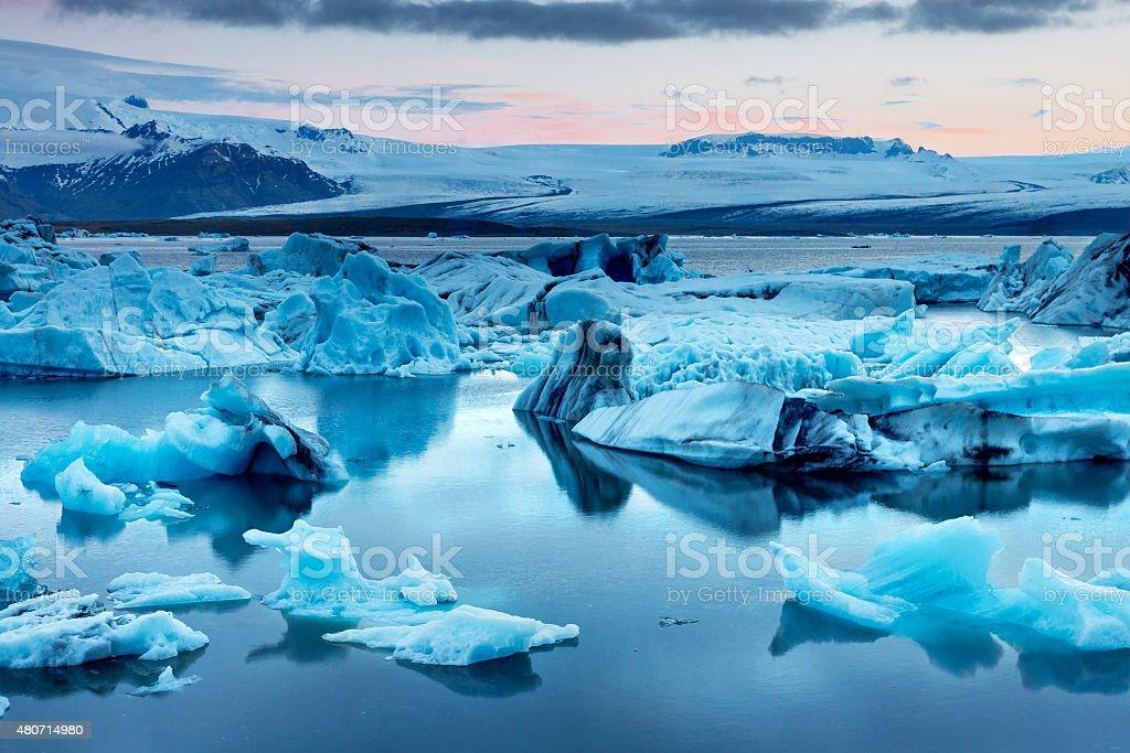 The Jokulsarlon glacier lagoon stock photo