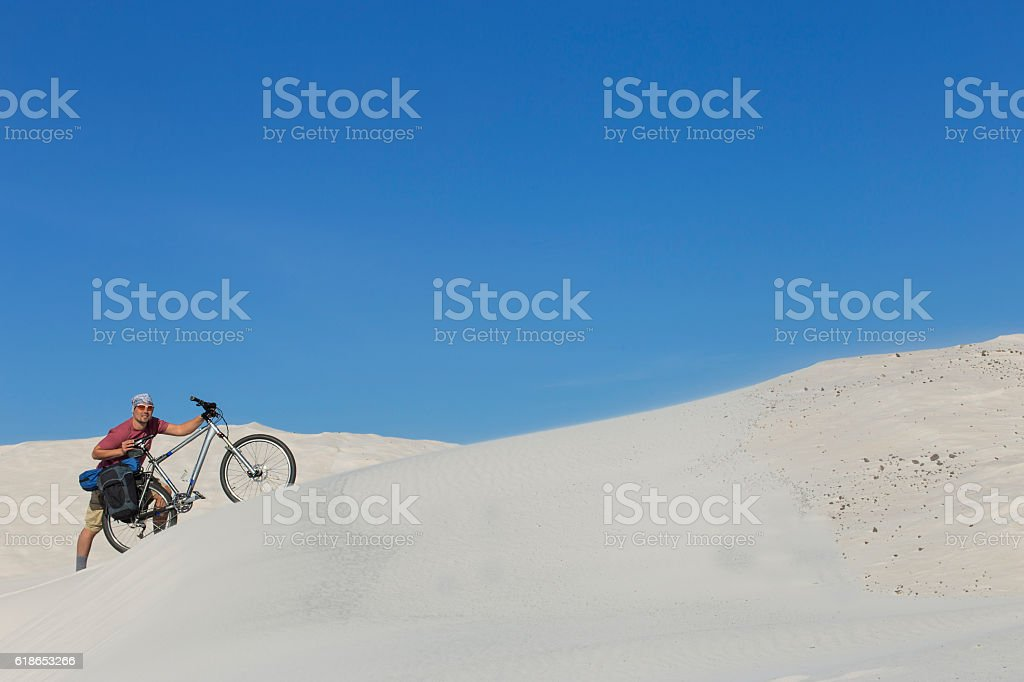 The journey in the desert on the white dunes. stock photo