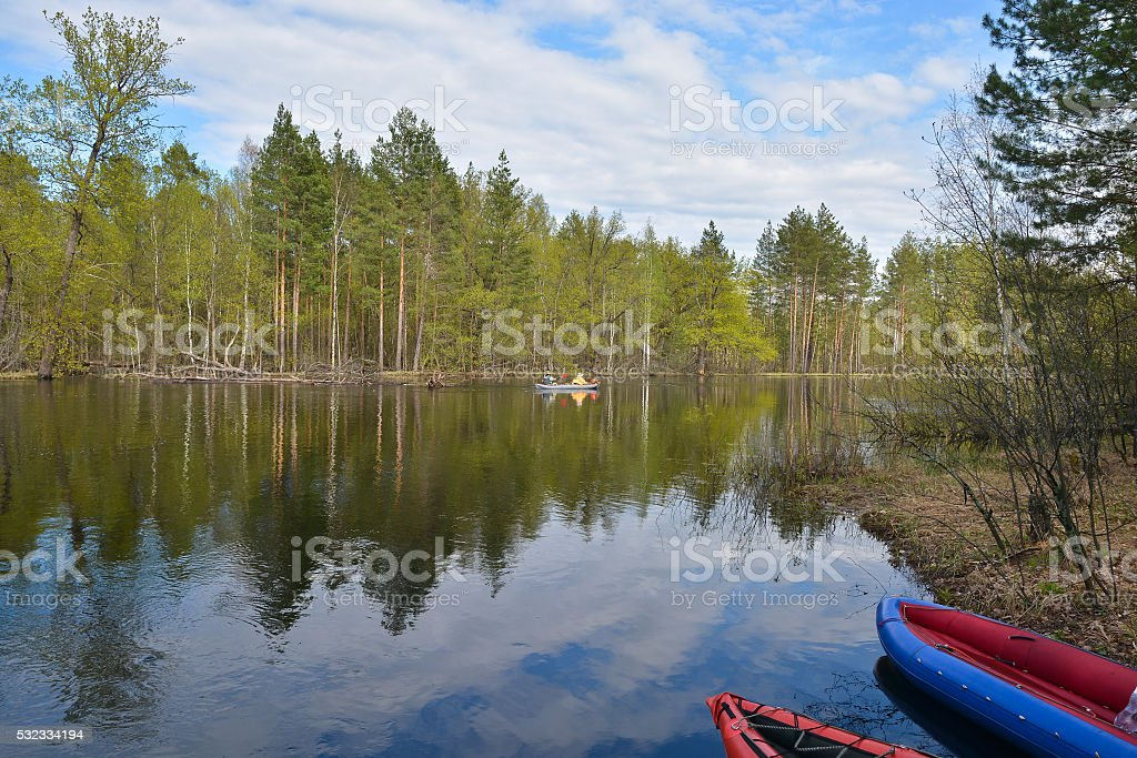 The journey on the river of national Park. stock photo