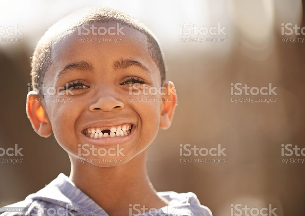 The joy of being a little boy stock photo