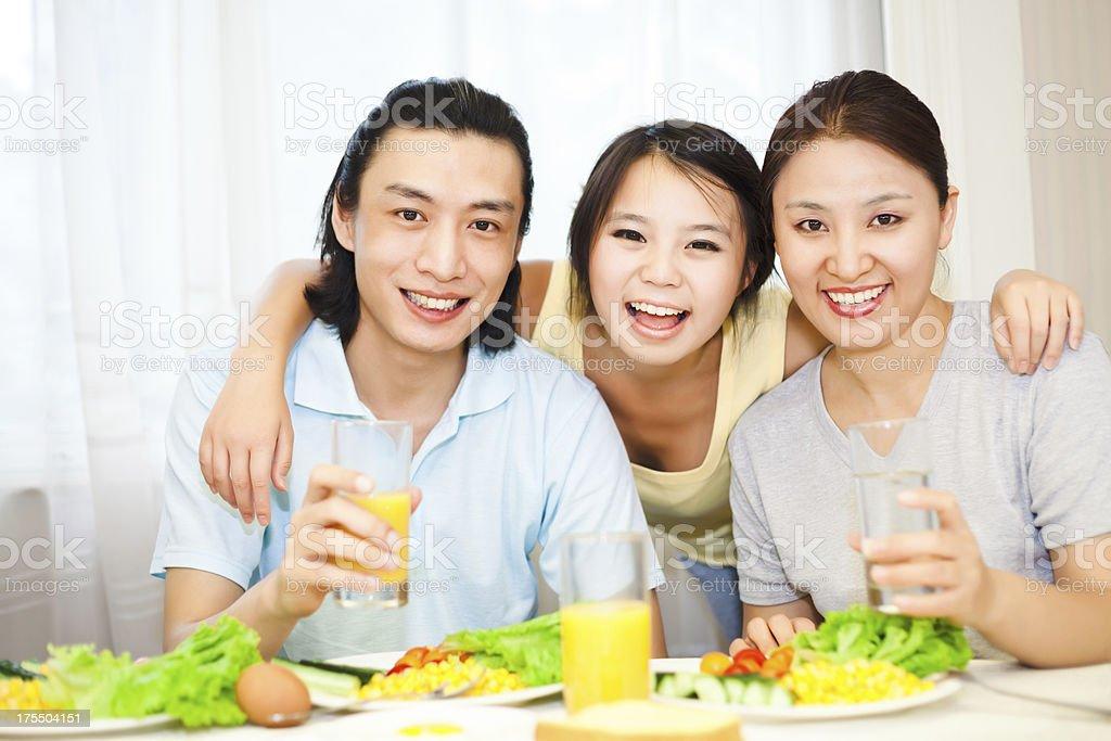 The joy of healthy breakfast stock photo