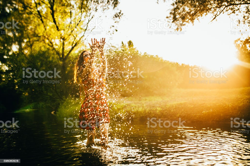 The joy of summer in water stock photo