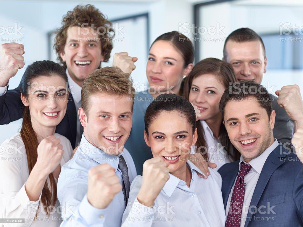 The joy of winning Business people stock photo