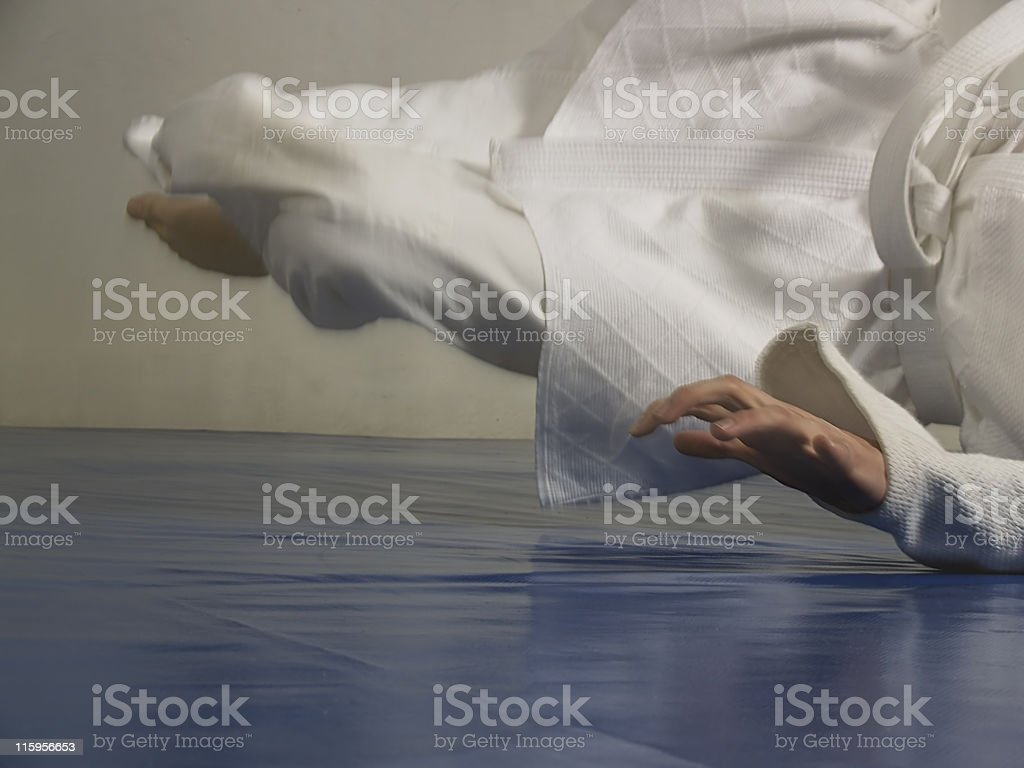 The judo fall stock photo