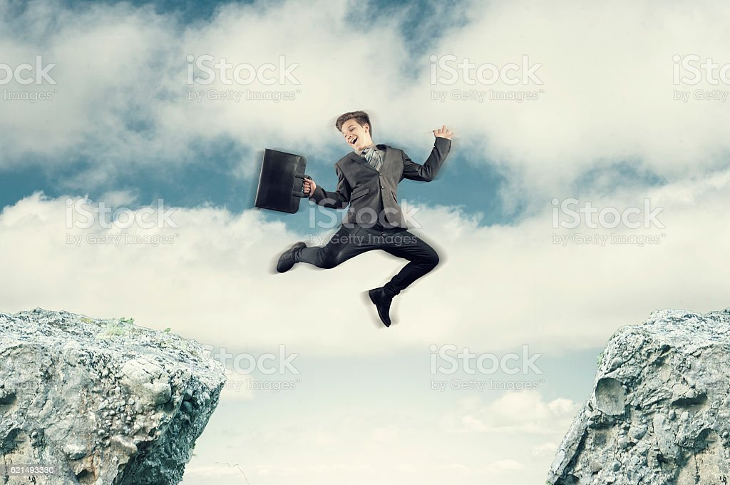 The jumping businessman stock photo