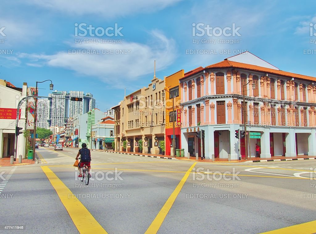 The junction in Singapore's Chinatown. stock photo