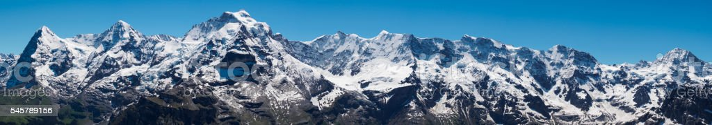 The Jungfrau, Monch, Eiger, panorama view from Shilthorn stock photo