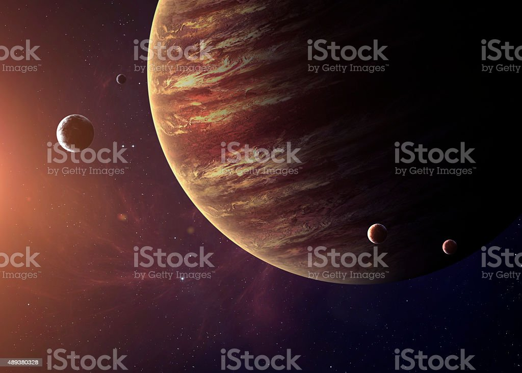 The Jupiter shot from space showing all they beauty. Extremely stock photo