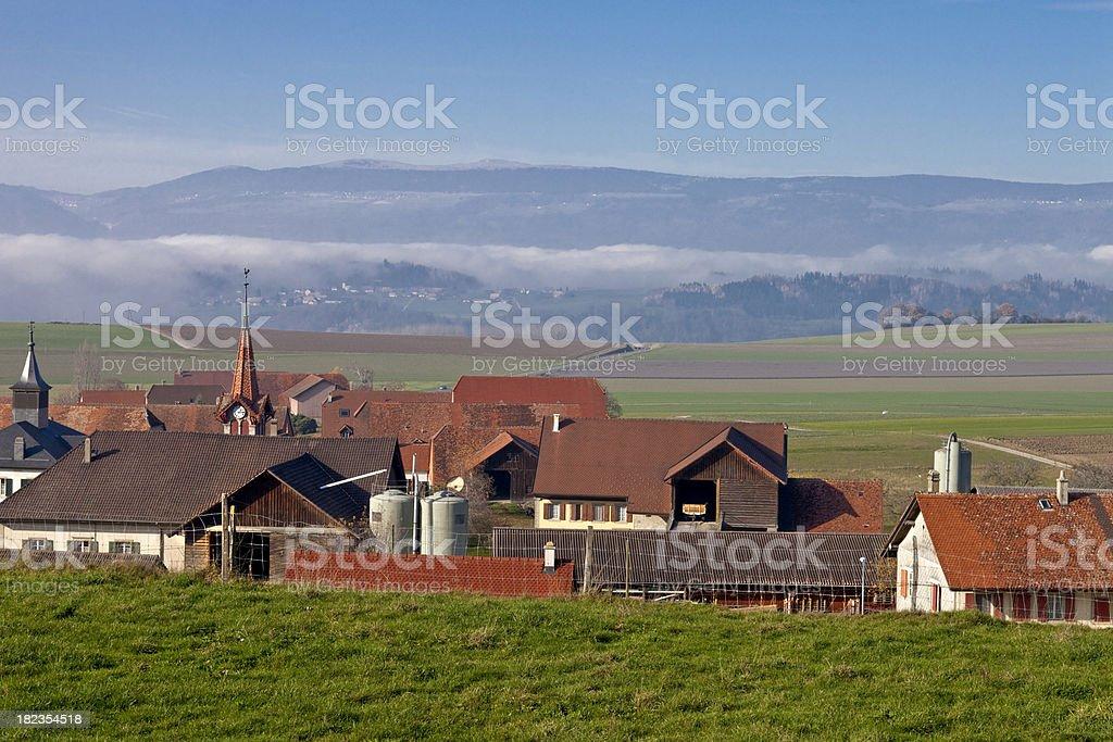 The Jura Mountains seen from Prahins, Vaud, Switzerland stock photo