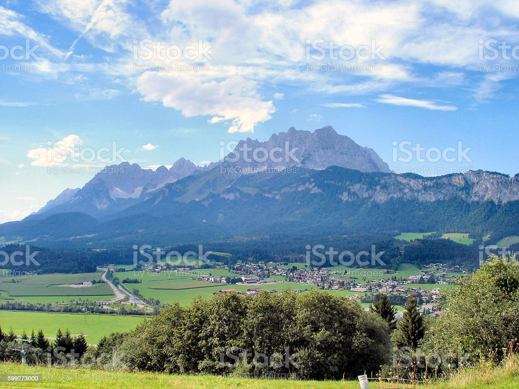 The Kaiser mountains in Tyrol stock photo