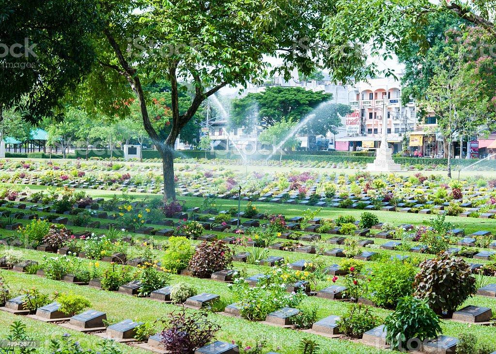 The Kanchanaburi War Cemetery, Thailand stock photo