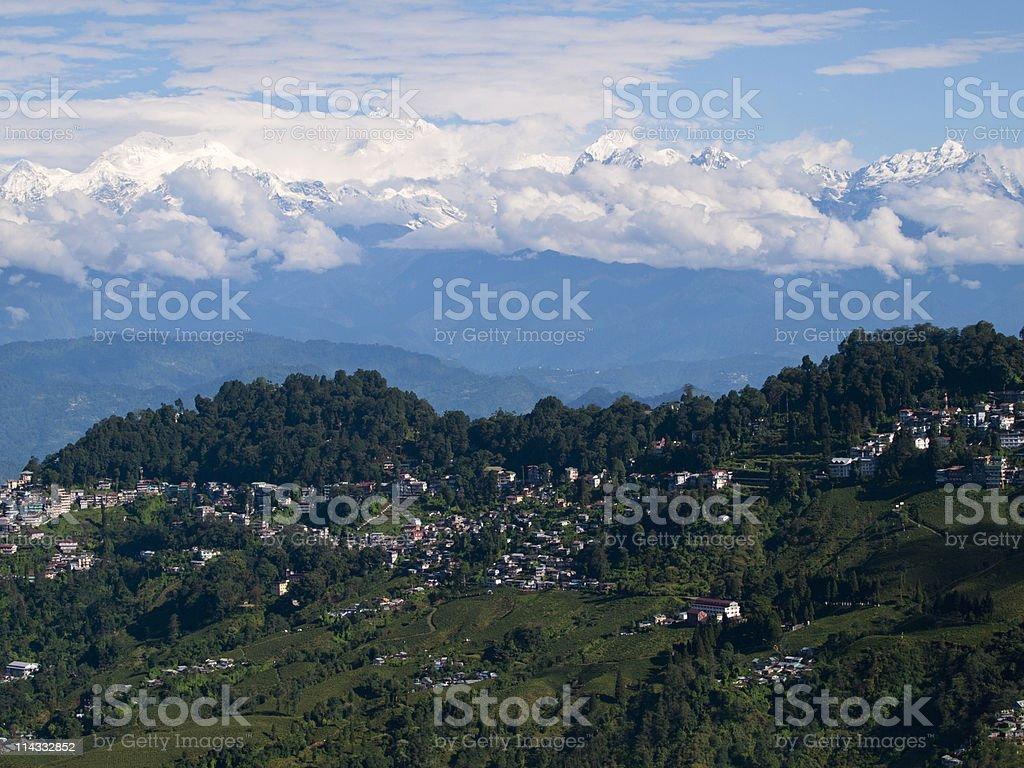 The kanchenjunga mountain behind Darjeeling, India royalty-free stock photo