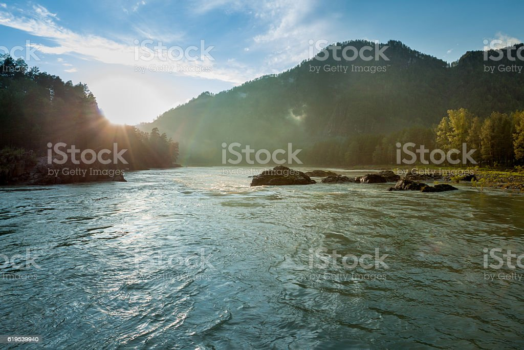 The Katun river in the Altai mountains stock photo