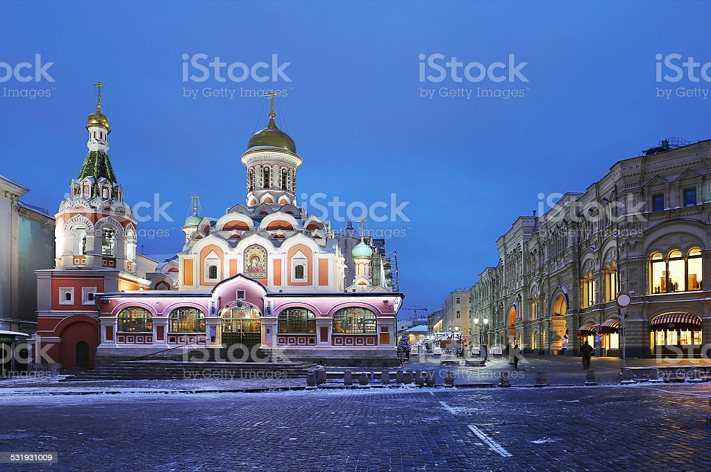 The Kazan Cathedral on red square in Moscow in the evening. stock photo