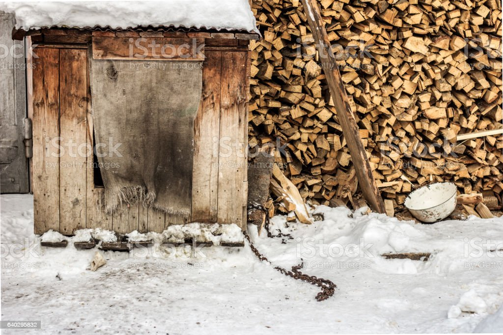 The kennel of old dog near the stack of firewood stock photo