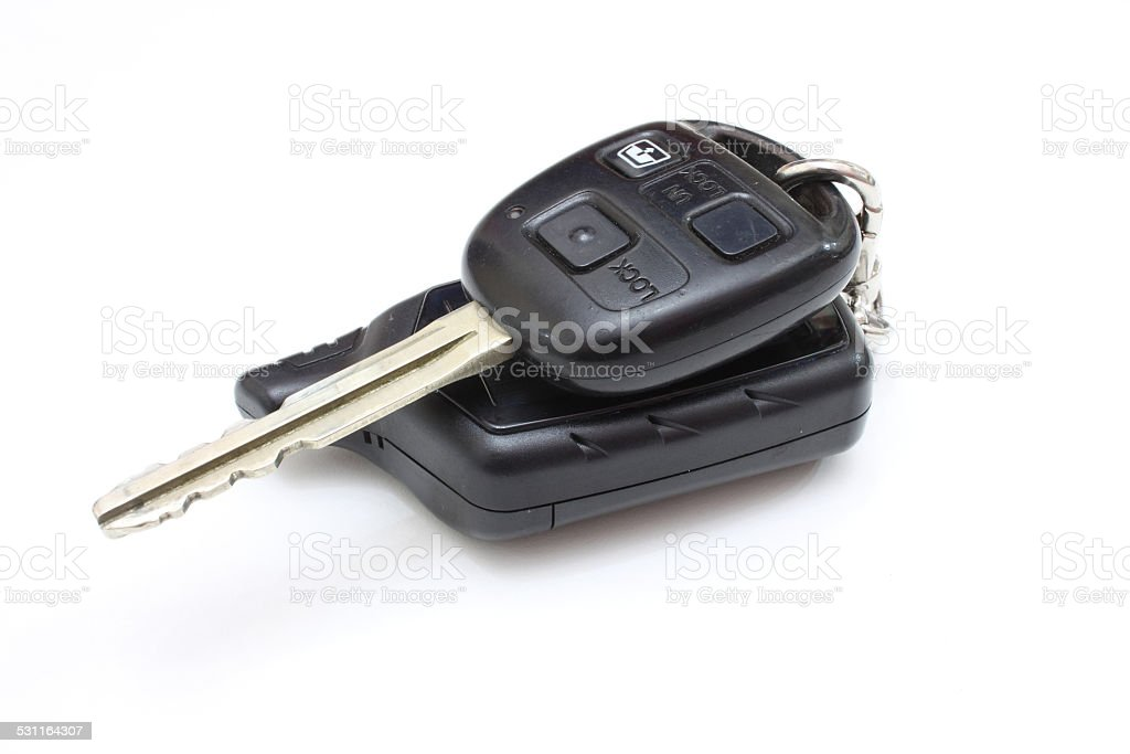 The key from the car with buttons stock photo