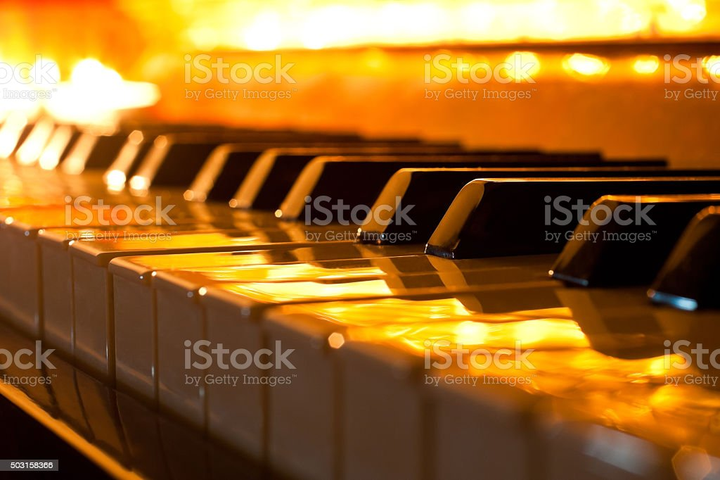The keyboard of the piano stock photo
