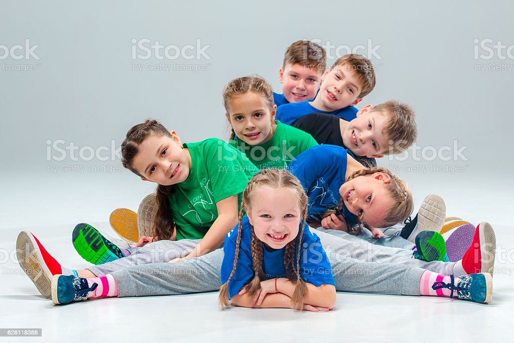 The kids dance school, ballet, hiphop, street, funky and modern stock photo