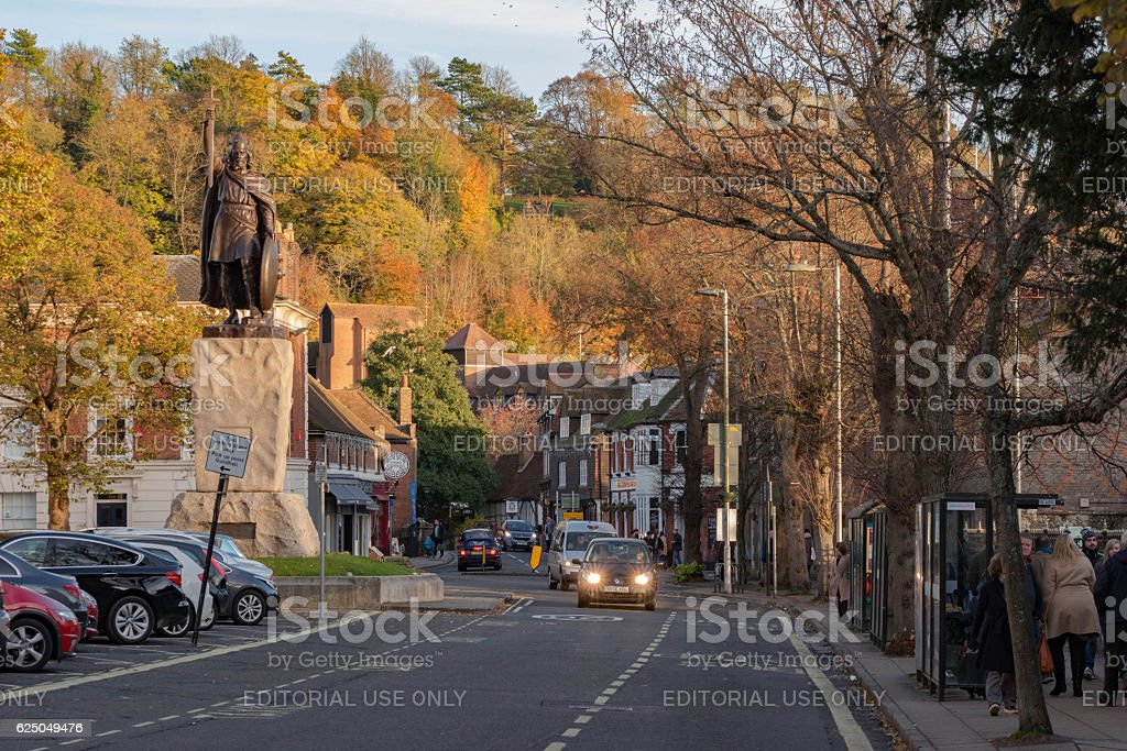 The King Alfred statue in Winchester stock photo