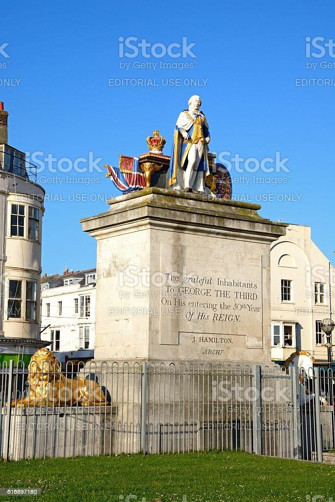 The Kings statue, Weymouth. stock photo