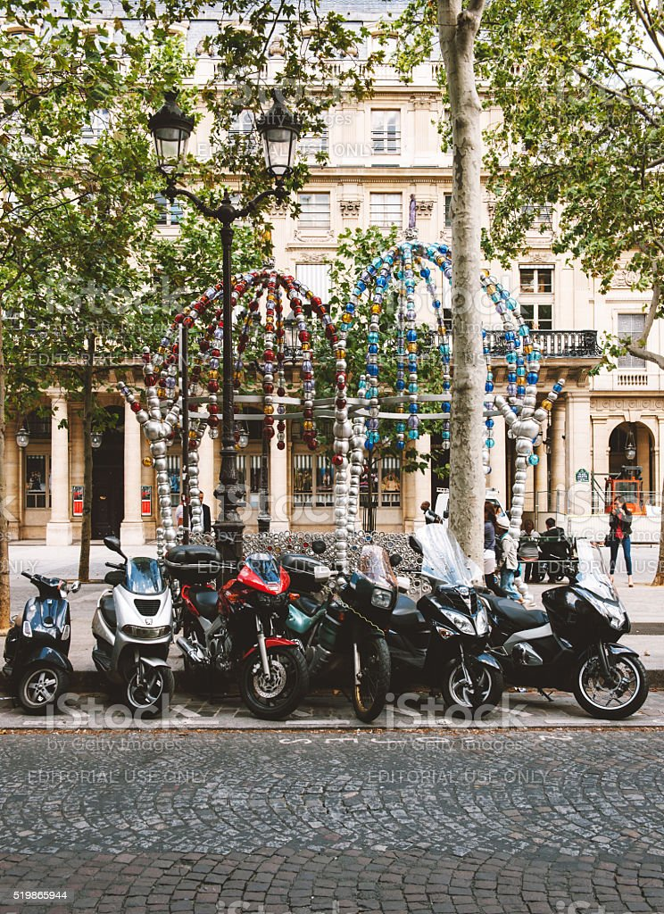 Le Kiosque des Noctambules and motorcycles parked stock photo