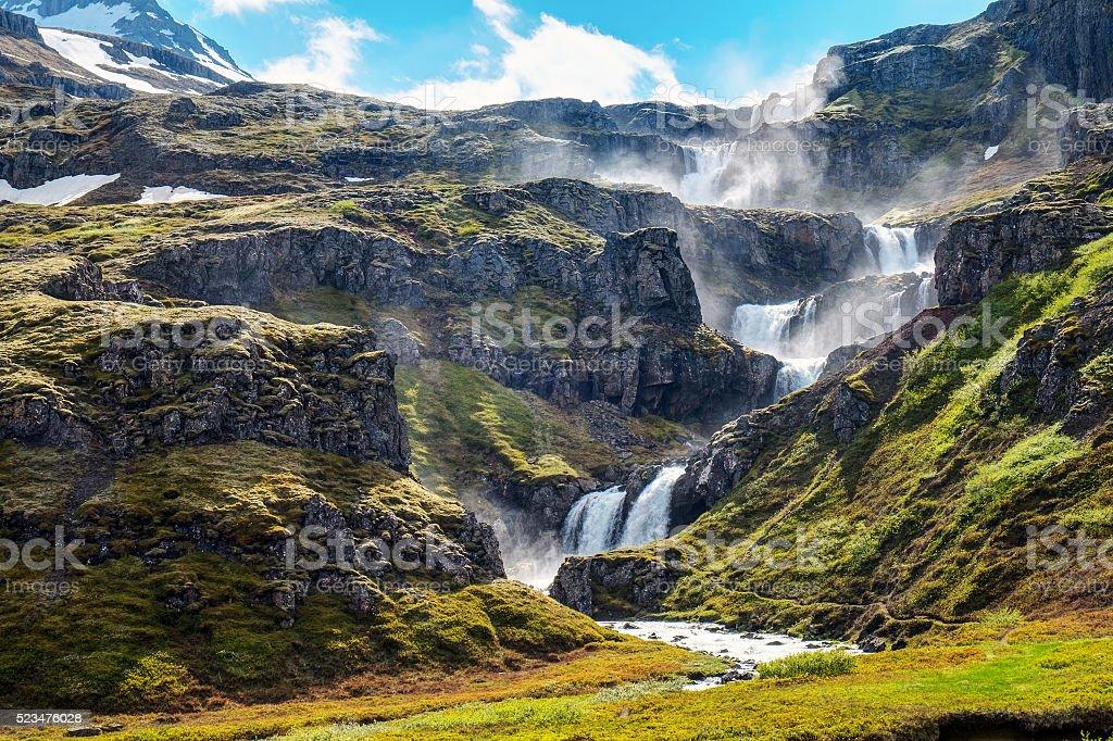 The Klifbrekkufossar in Iceland stock photo