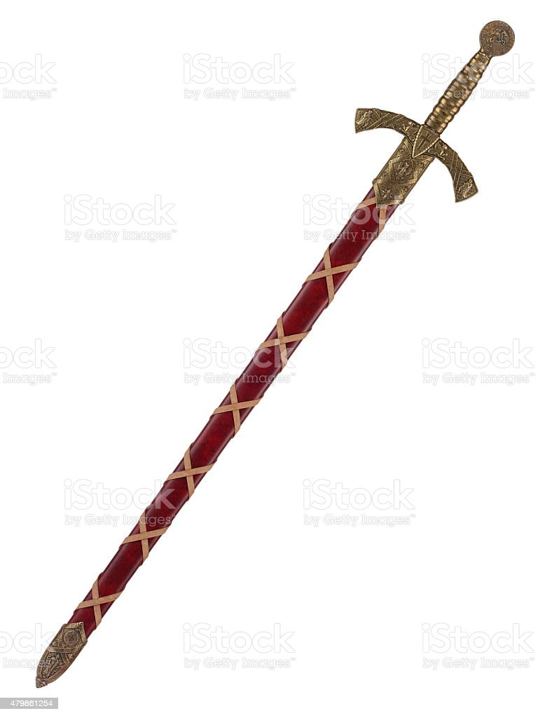 The knightly sword  isolated on a white background stock photo