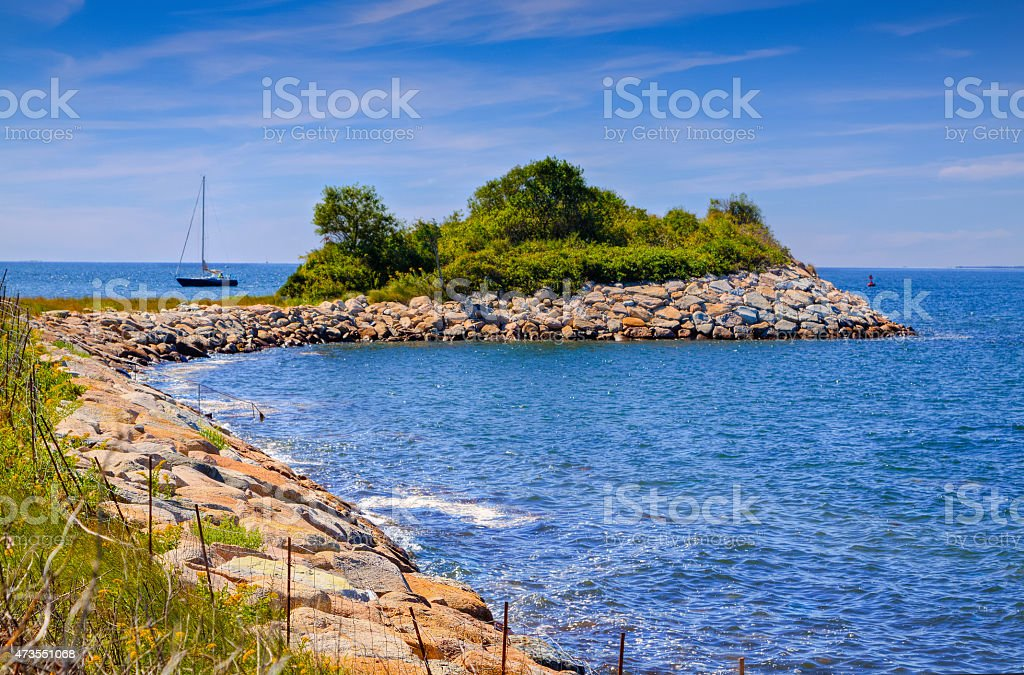 The Knob and Buzzards Bay, Woods Hole, Falmouth, Cape Cod. stock photo