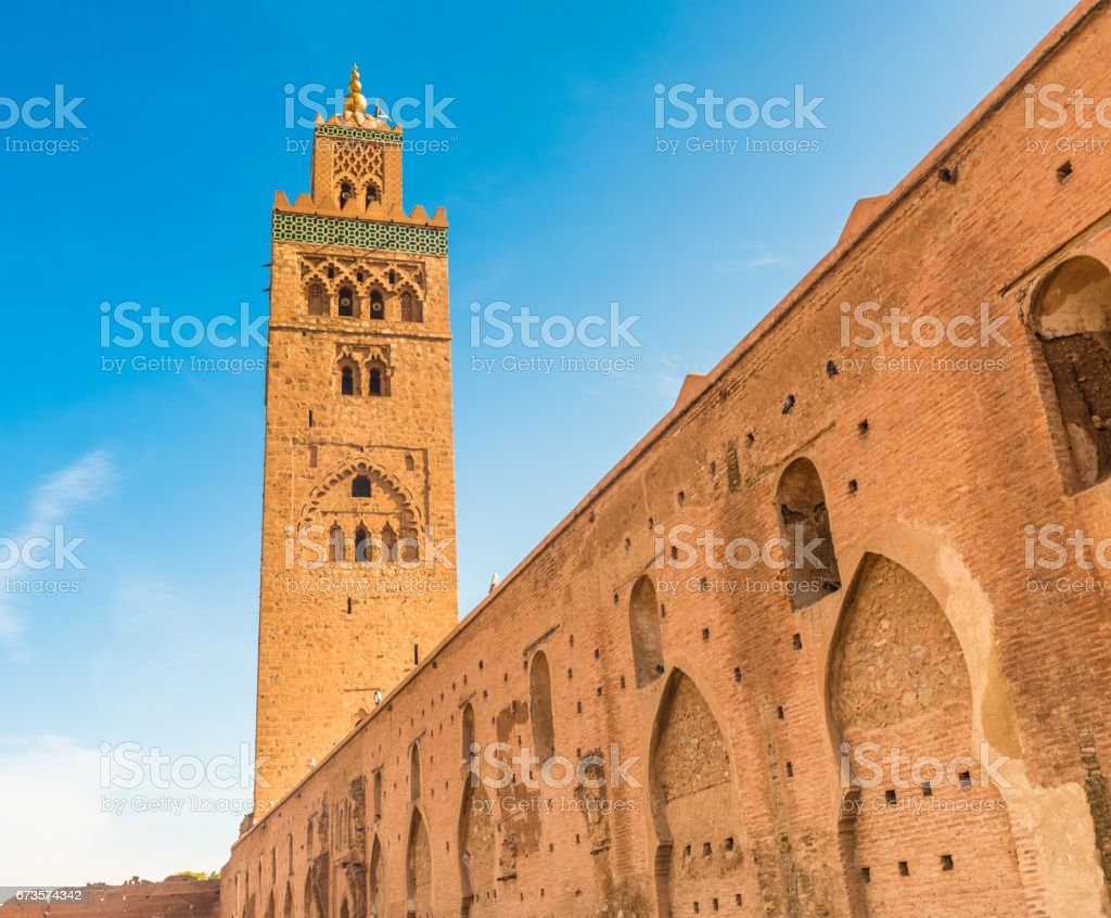 The Koutoubia Mosque from the Park Lalla Hasna, Marrakesh, Morocco stock photo