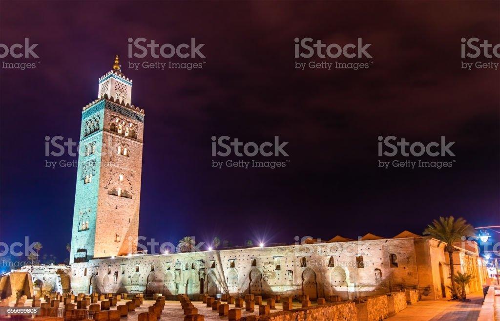 The Koutoubia or Kutubiyya Mosque, the largest mosque in Marrakesh, Morocco stock photo