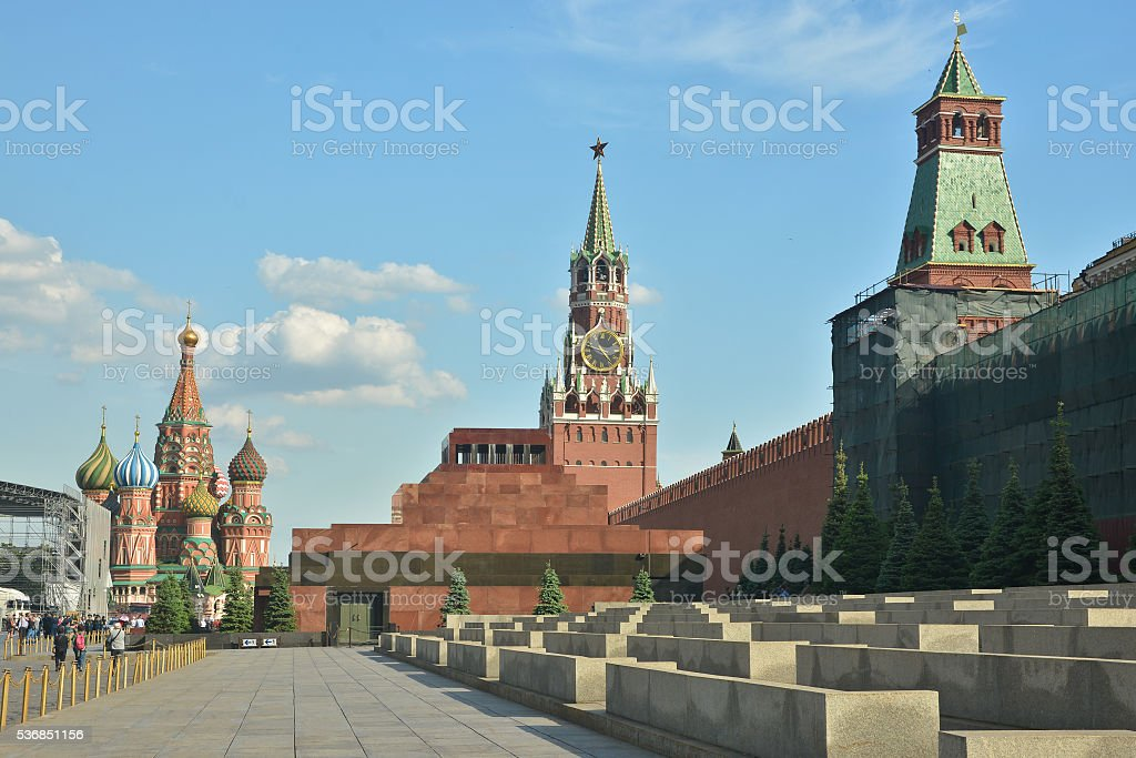 The Kremlin and Lenin's mausoleum. stock photo