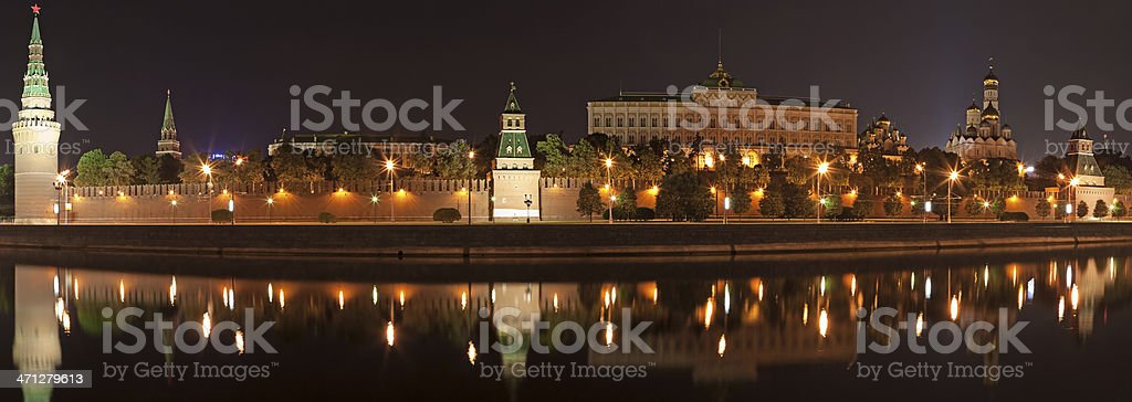 The Kremlin in Moscow at night - panorama royalty-free stock photo
