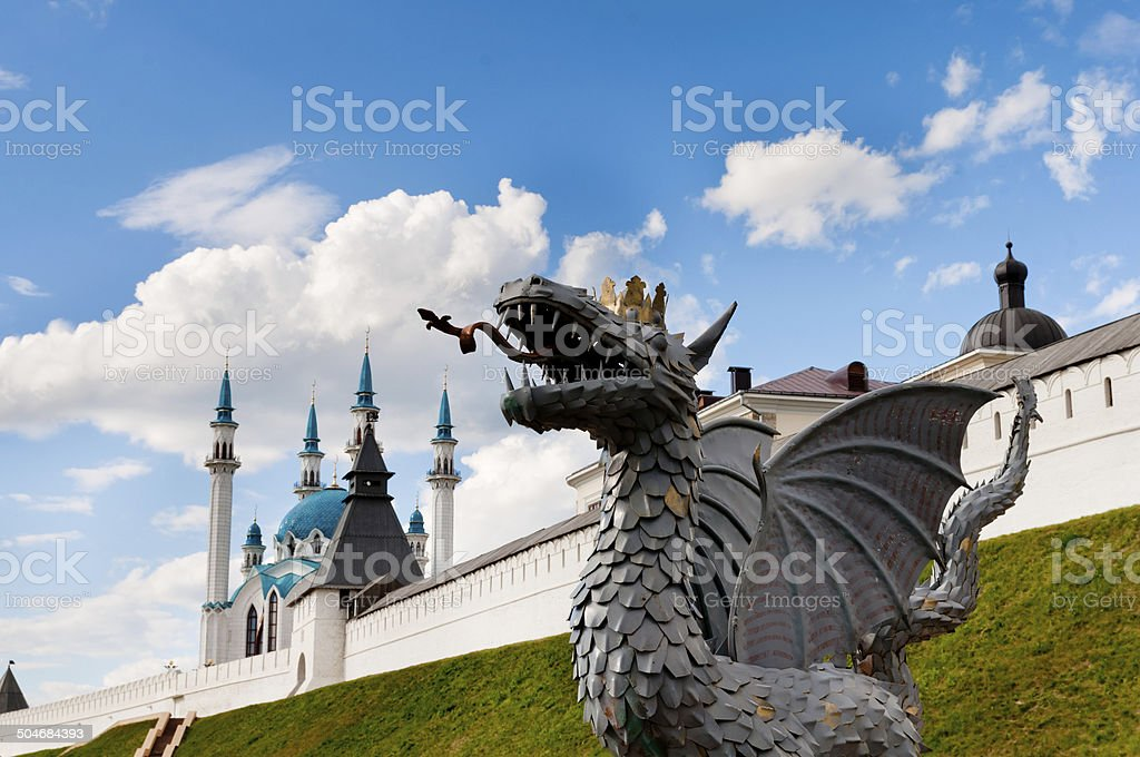 The Kul Sharif Mosque and Statue of dragon,Tatarstan, Russia stock photo