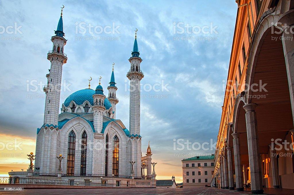 The Kul Sharif mosque in Kazan Kremlin at sunset. stock photo