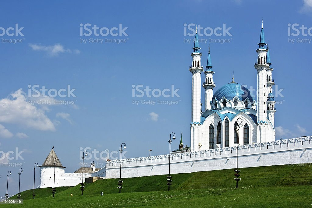 The Kul Sharif mosque is bigest in Europe. Russia. Kazan. stock photo