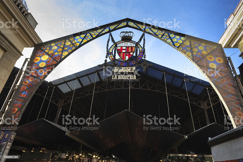 The La Boqueria Market in Barcelona, Spain stock photo