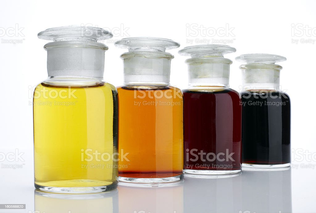 The laboratory glass container and liquid royalty-free stock photo