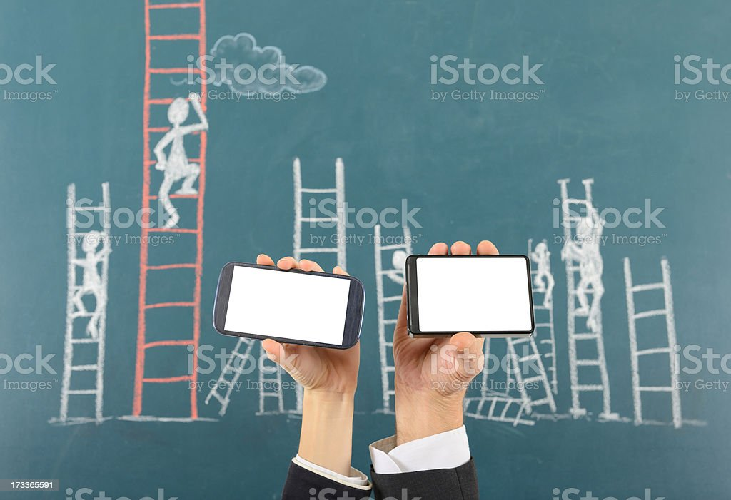 The Ladder of Success W Smart Phone royalty-free stock photo