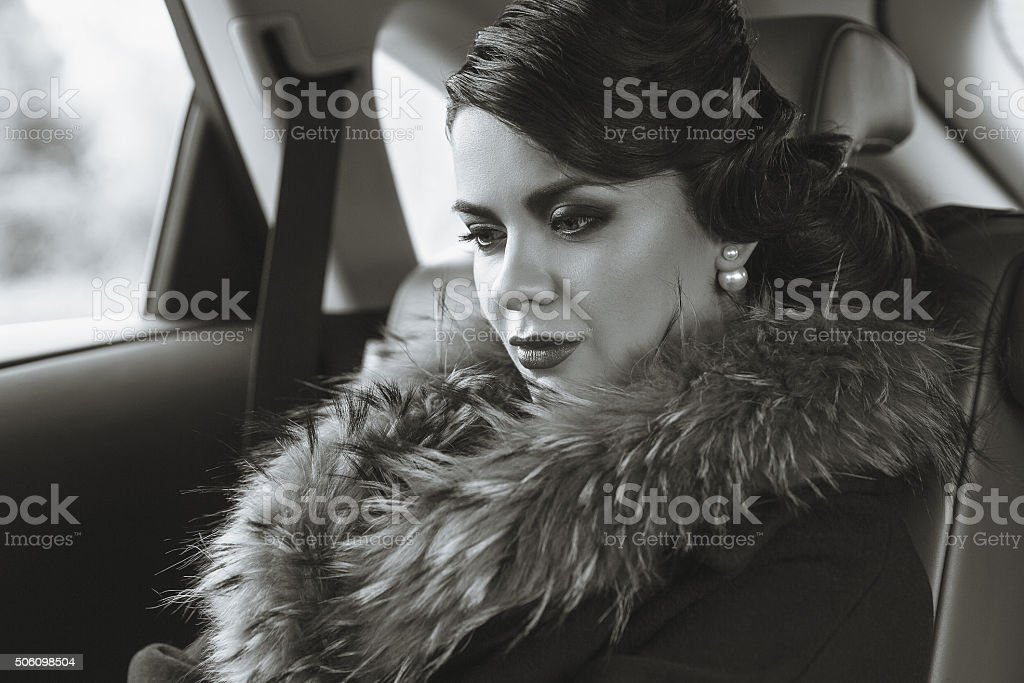 The lady in retro style. stock photo