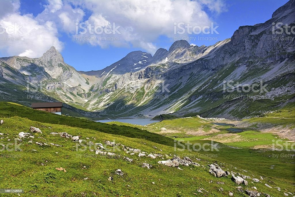 The lake and plateau Glattalp in central Switzerland stock photo