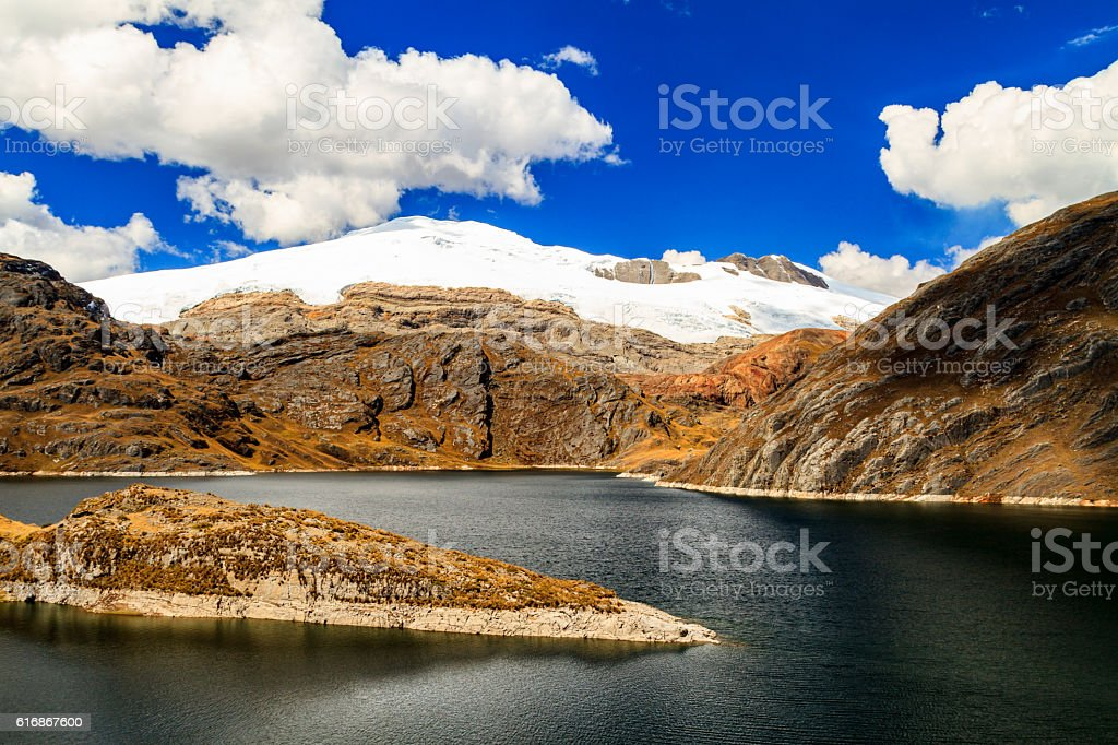 The lake and the snow covered mountain stock photo