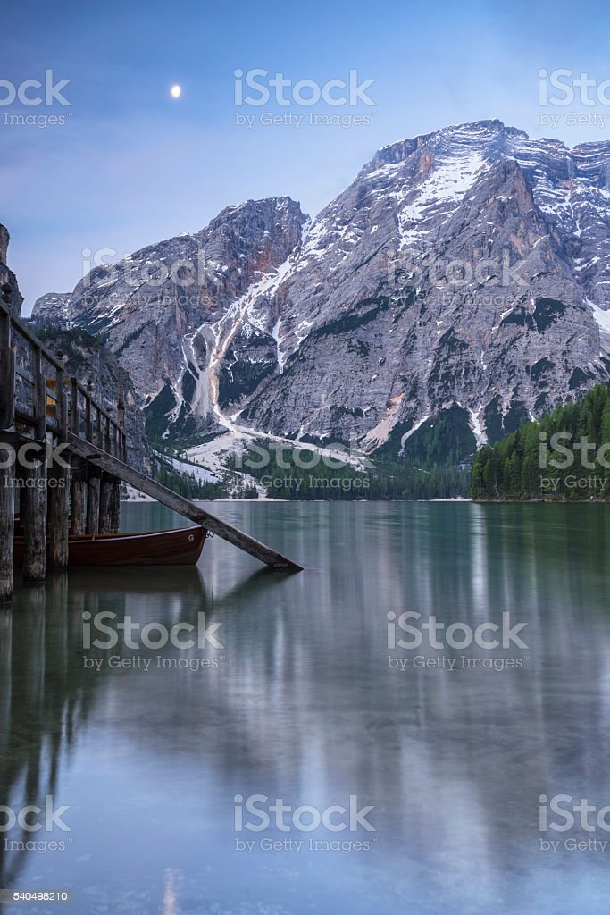 The Lake Braies with half-moon stock photo