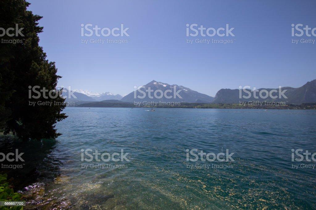 The Lake Brienz in the Alps, Switzerland stock photo