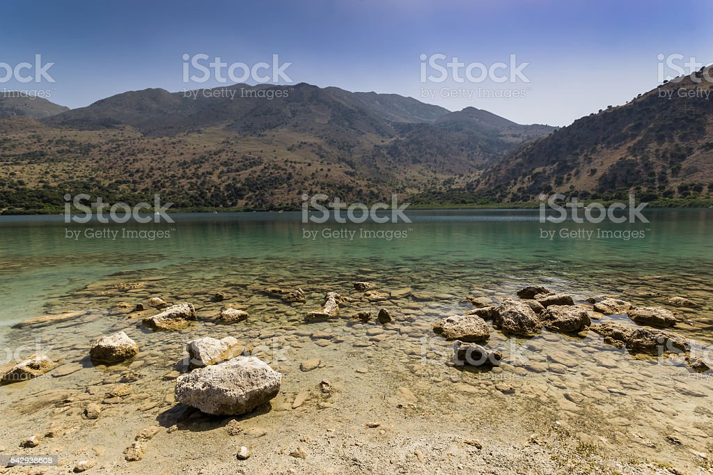 The Lake Kourna Crete. stock photo