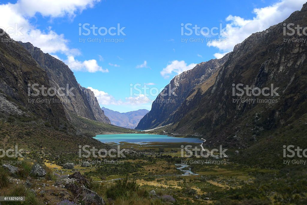 The lake of Huaraz stock photo