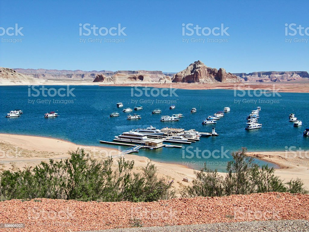 The Lake Powell with typical houseboats stock photo