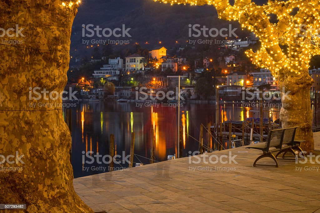 The lake promenade Piazza Mota, Ascona stock photo