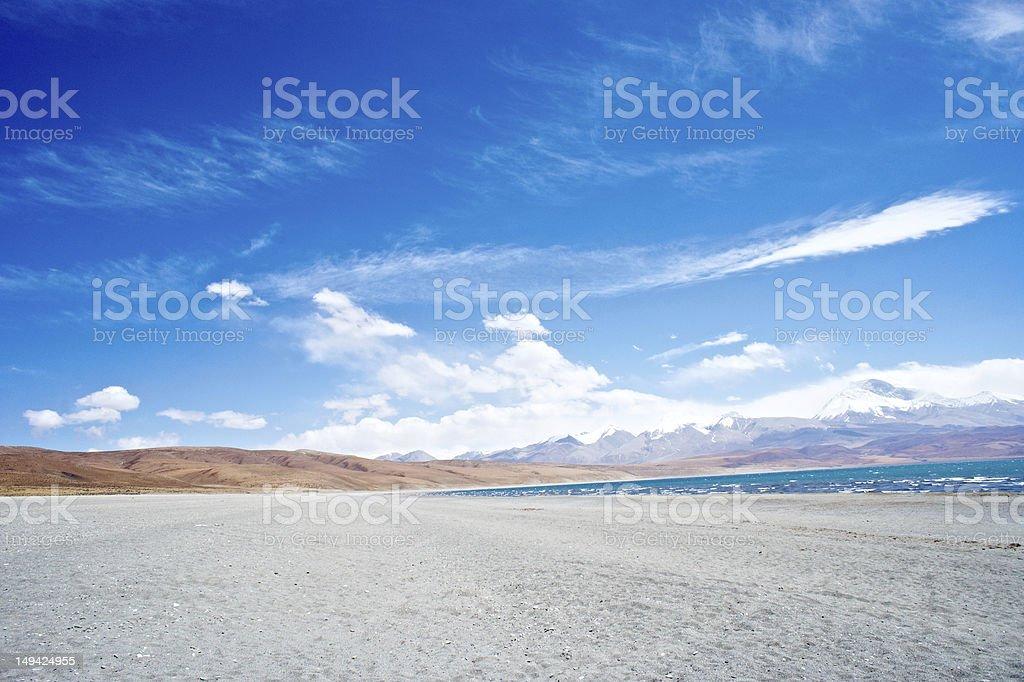 The lake Rakshas Tal , Tibet landscape stock photo