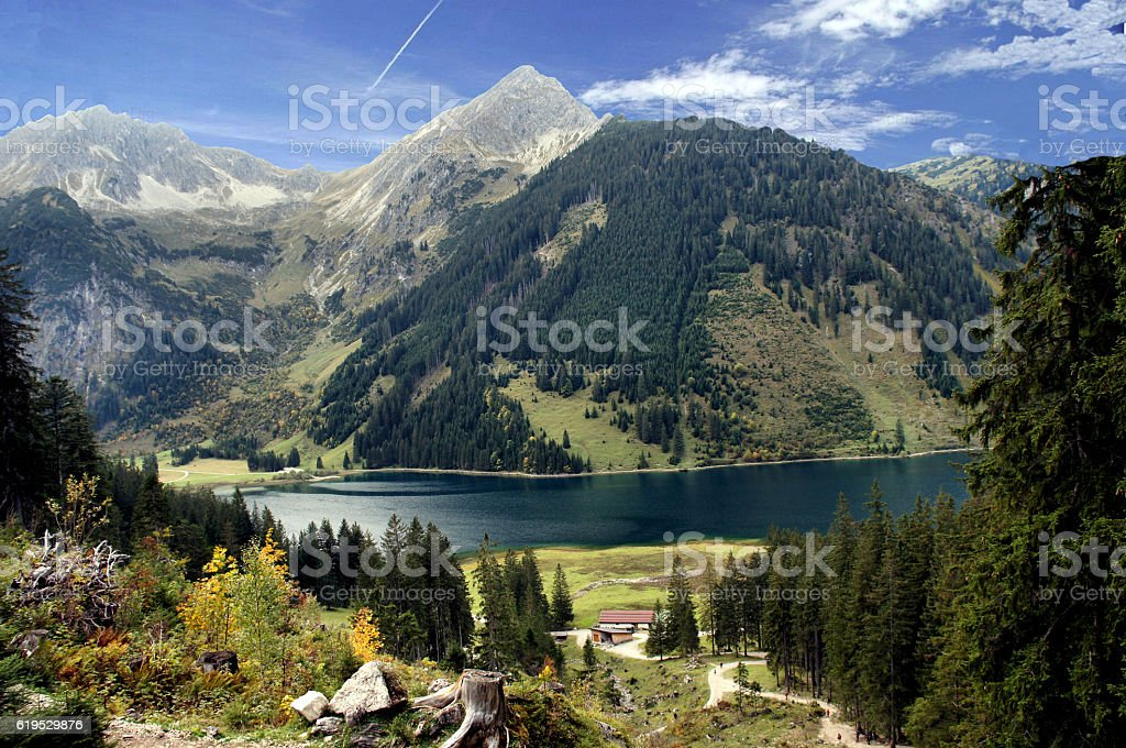 The Lake Vilsalpsee in Tirol, Austria stock photo